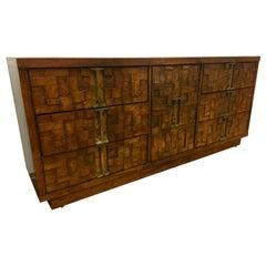 Midcentury Brutalist Paul Evans Style Walnut Dresser