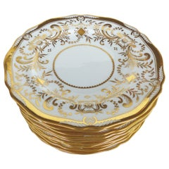 Copeland Spode Gilt Decorated Dessert Plates, Set of 11 Retailed by WH Plummer