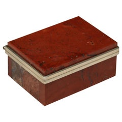 Small Continental Red Agate and Silver Plate Hinged Box