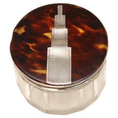 English Art Deco Crystal Jar with Faux Tortoiseshell and Sterling Silver Top