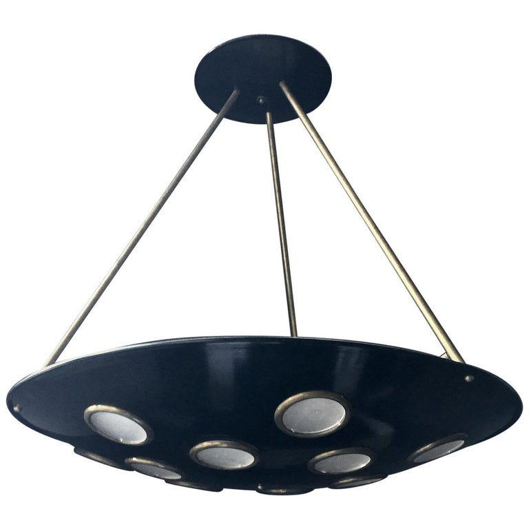 Large Mid-20th Century Italian Saucer Chandelier For Sale