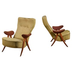 Pair of Theo Ruth Model 105 Chairs, the Netherlands, 1950s
