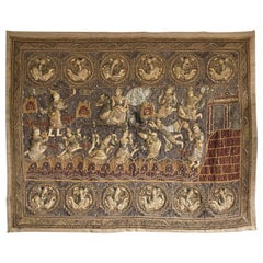 Large Burmese Silk Linen Heavily Embroidered Applique Figures Kalaga Tapestry