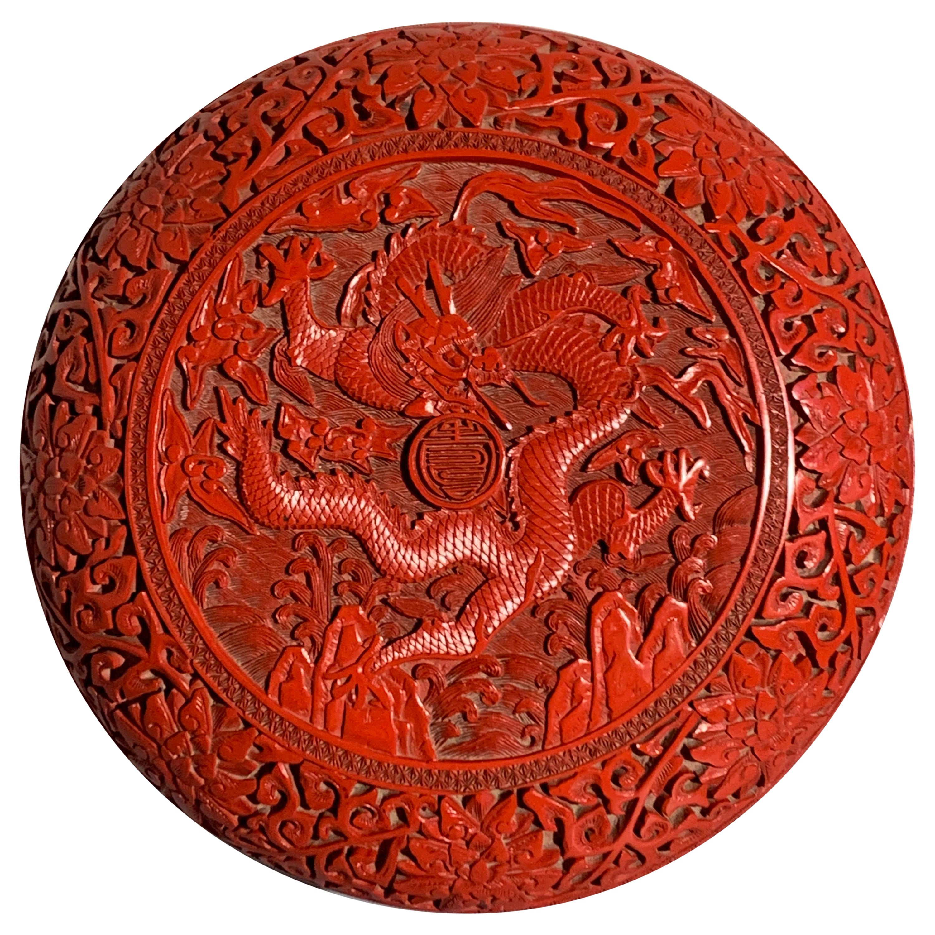 Chinese Carved Cinnabar Red Lacquer Round Dragon Box, Republic Period