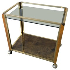 Mid-Century Modern Pierre Cardin Style Brass, Glass and Lacquered Burl Bar Cart