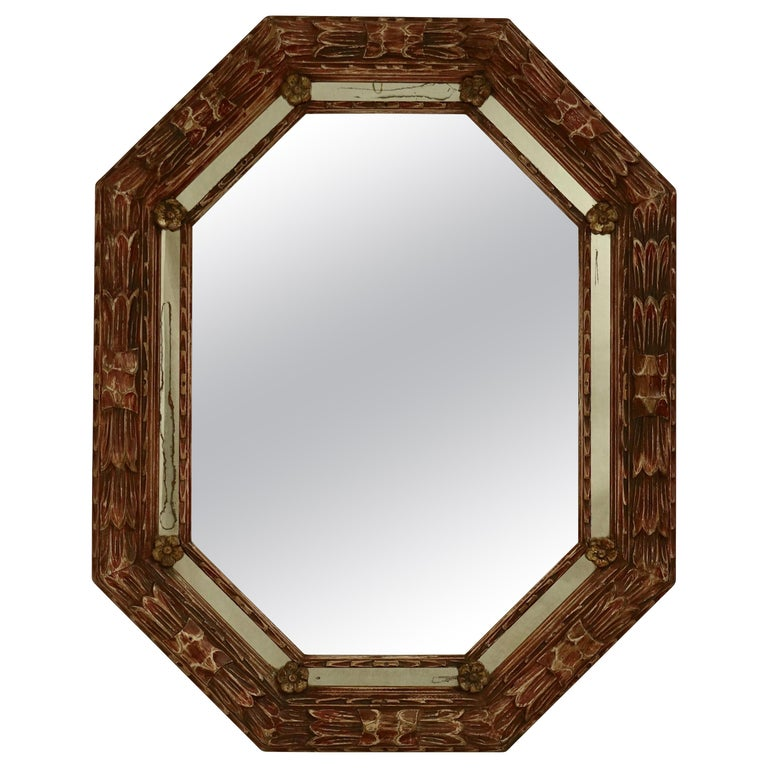 Carved and Painted Octagonal Mirror For Sale