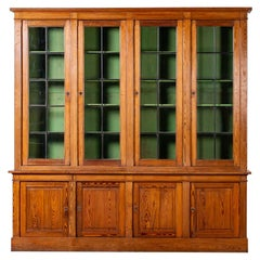 Enormous Antique French Pine Bibliothèque Bookcase Display Cabinet, circa 1850