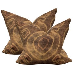 Pair of Mid-20th Century Kuba Cloth Pillows