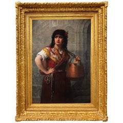 Jules Salles-Wagner, French, 19th Century Oil on Canvas: Water Carrier