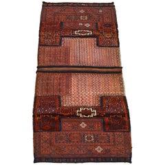 Antique Saddlebag with Soumak and Bakhtiari Persian Carpet Weaves, circa 1890