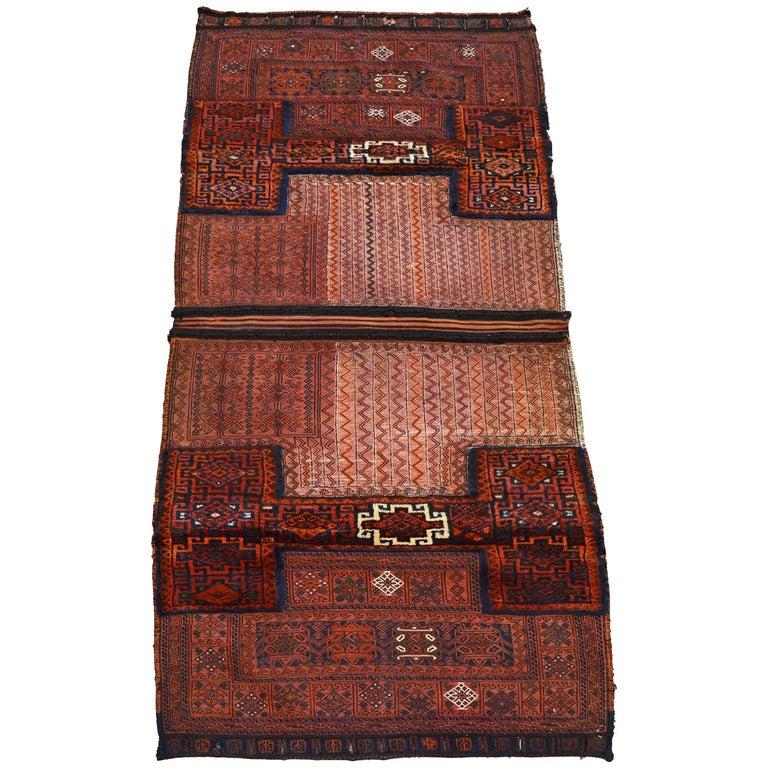 Antique Saddlebag with Soumak and Bakhtiari Persian Carpet Weaves, circa 1890 For Sale