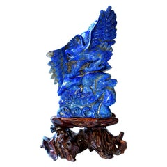 Natural Lapis Lazuli Eagle Sculpture, 8.2 Lb Large Statue