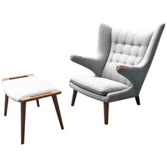 Authentic Hans Wegner Papa Bear Lounge Chair and Foot Stool