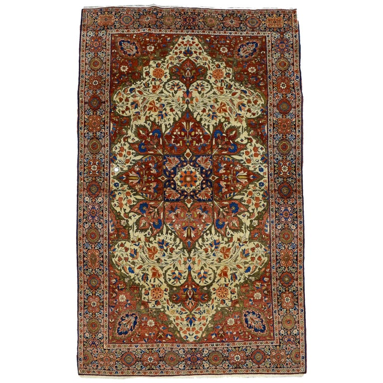 Red, Cream, and Light Blue Antique Persian Farahan Carpet c. 1890 in Pure Wool For Sale