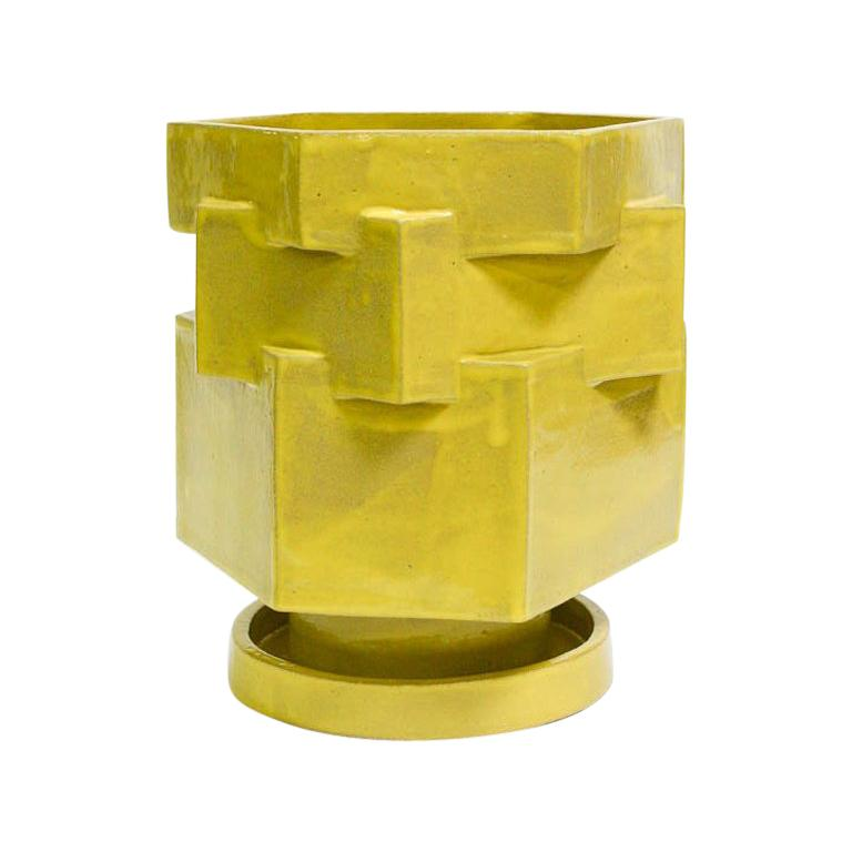 Large Contemporary Gloss Yellow Ceramic Hexagon Planter For Sale