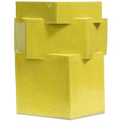 Extra Large Contemporary Ceramic Gloss Yellow Hexagon Planter