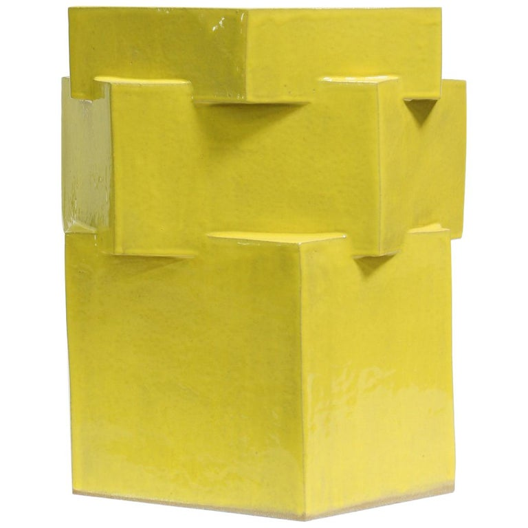 Extra Large Contemporary Ceramic Gloss Yellow Hexagon Planter For Sale