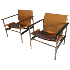 Pair of Charles Pollock Leather Sling Lounge Chairs by Knoll