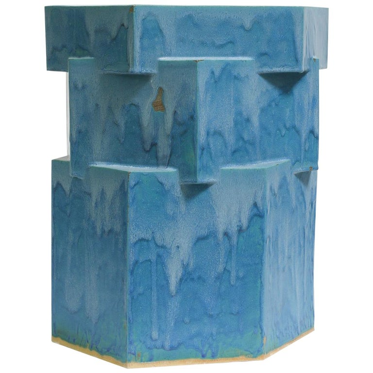 Extra Large Contemporary Ceramic Teal Hexagon Planter For Sale