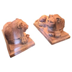 Exceptional Fine and Rare Pair of French Retour D'egypt Period Terracotta Lions