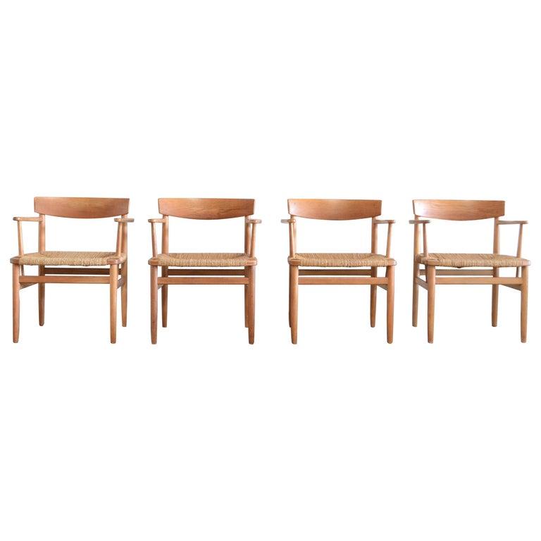Børge Mogensen Model 537 Oresund Dining Oak Chairs for Karl Andersson Set of 4 1