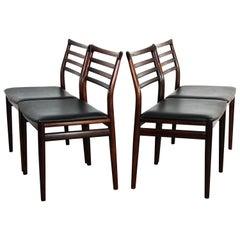 Midcentury Danish Erling Torvits Rosewood Chairs by Sorø Stolefabrik, Set of 4