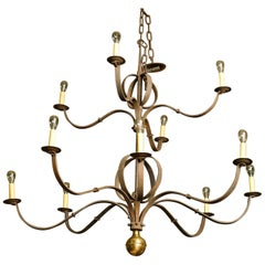 Monumental Two-Tier Forged Iron Chandelier