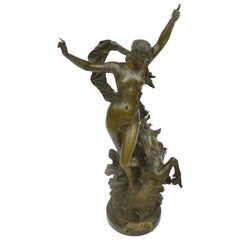 Galathée Woman and Horse French Art Nouveau Bronze Sculpture by Edouard Drouot