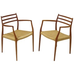 Six JL Møller Model 62, 78 Carver Dining Chairs in Teak and Papercord