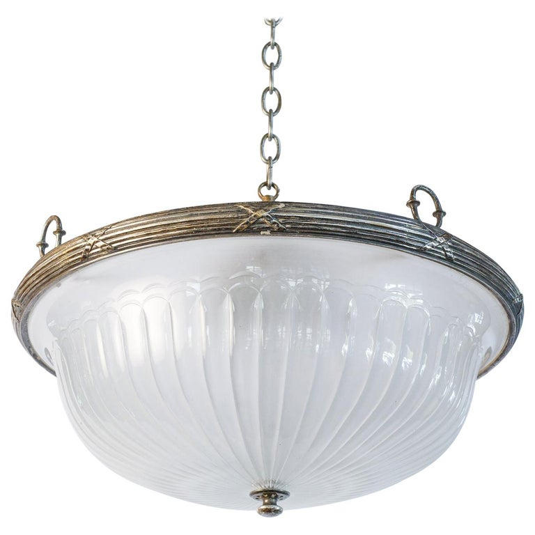 Classic, French Frosted Glass and Silver-Plated Pendant of Grand Size 1