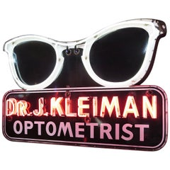 Porcelain Enamel Neon Eyeglass Optometrist Sign