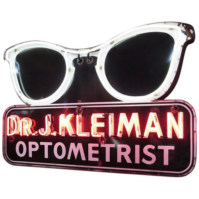 Porcelain Enamel Neon Eyeglass Optometrist Sign For Sale