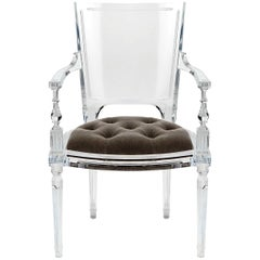 Italian Handmade Sturdy Lucite Armchair Featuring Mohair Upholstered Tufted Seat