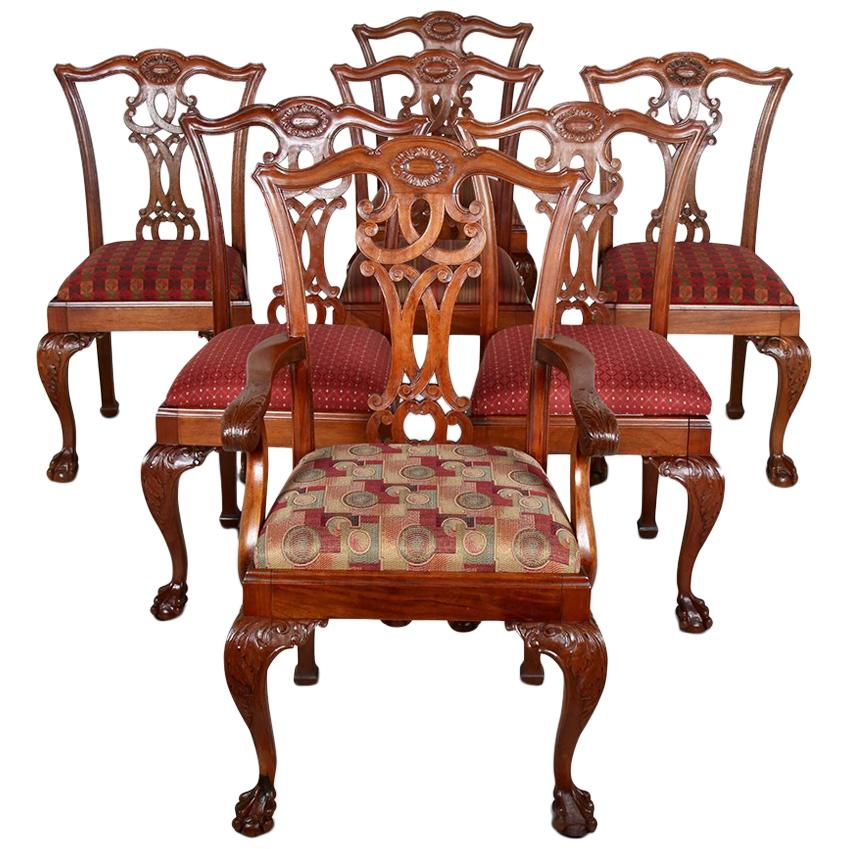 Set of Seven Carved Mahogany Chippendale Dining Chairs