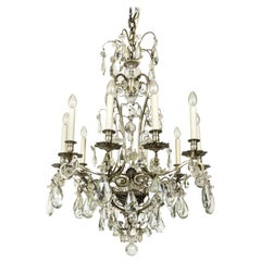 Crystal Flowers in Woven Basket Chandelier