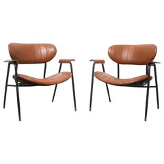 Italian Mid Century Rinaldi Brown Lounge Chairs for Rima, Italy, circa 1950