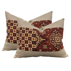 Pair of Early 20th Century Indonesian Double Ikat Pillows