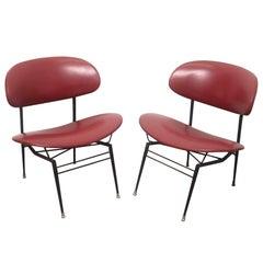 Italian Mid Century Modern Red Vinyl Lounge Chairs by Gastone Rinaldi, 1950