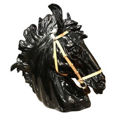 Gucci Porcelain and Leather Horse Head Sculpture