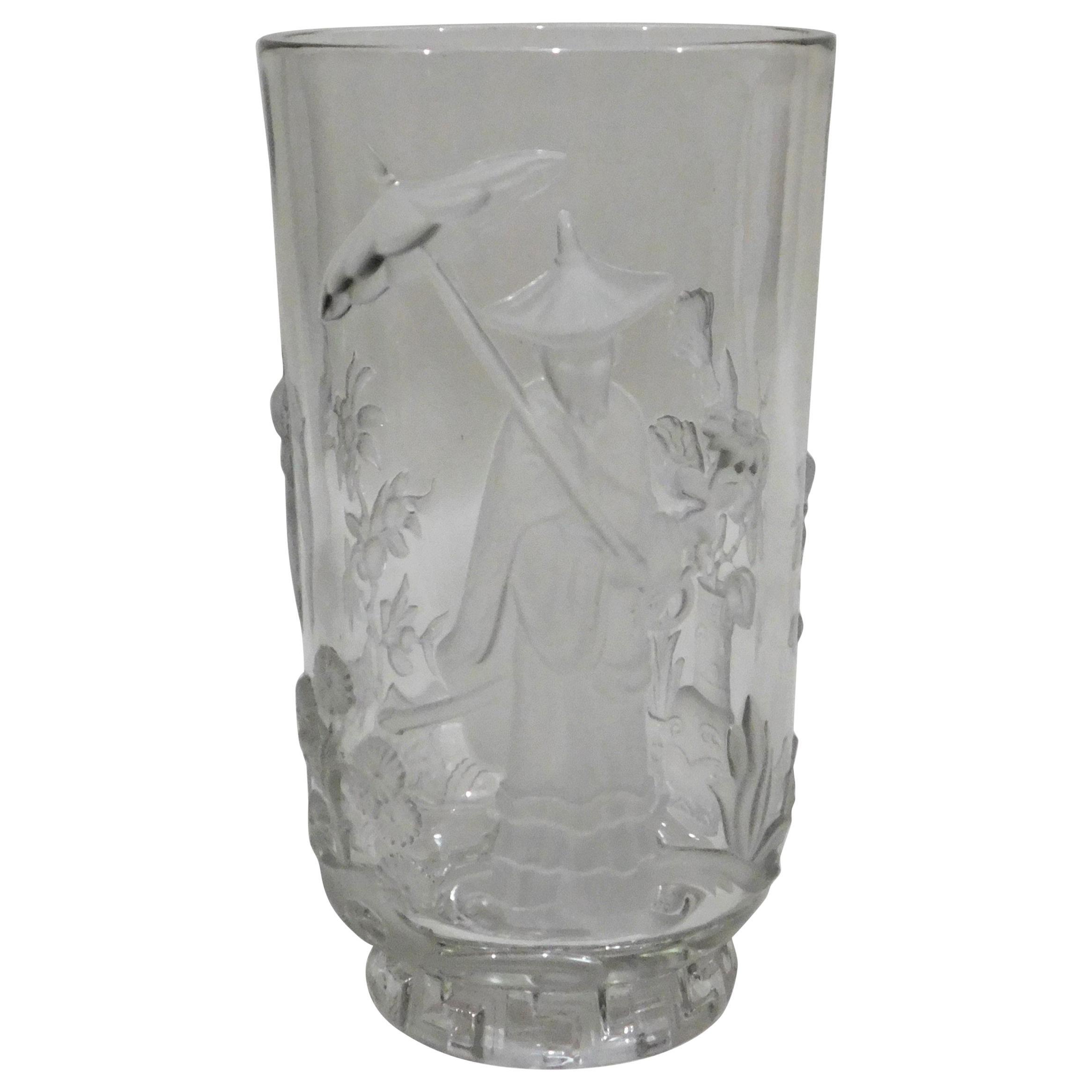 American Crystal Art Glass Verlys Vase with Chinese Mandarin Design