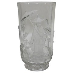 American Crystal Art Glass Verlys Vase with Chinese Mandarin Design