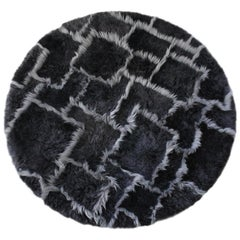 Treasure Designer Patchwork Sheepskin Rug in Charcoal Grey, Made in Australia
