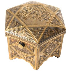 Persian Engraved Brass Hexagonal Jewelry Ring Box