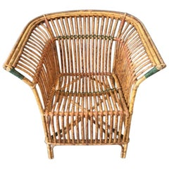 Antique Split Tiger Cane Armchair with Organic Fan Form Lines