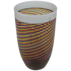 Large Cenedese Filigrana Vase with Mulitcolored Glass Bands