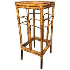 Antique Tiger Bamboo Plant Stand or Occasional Table