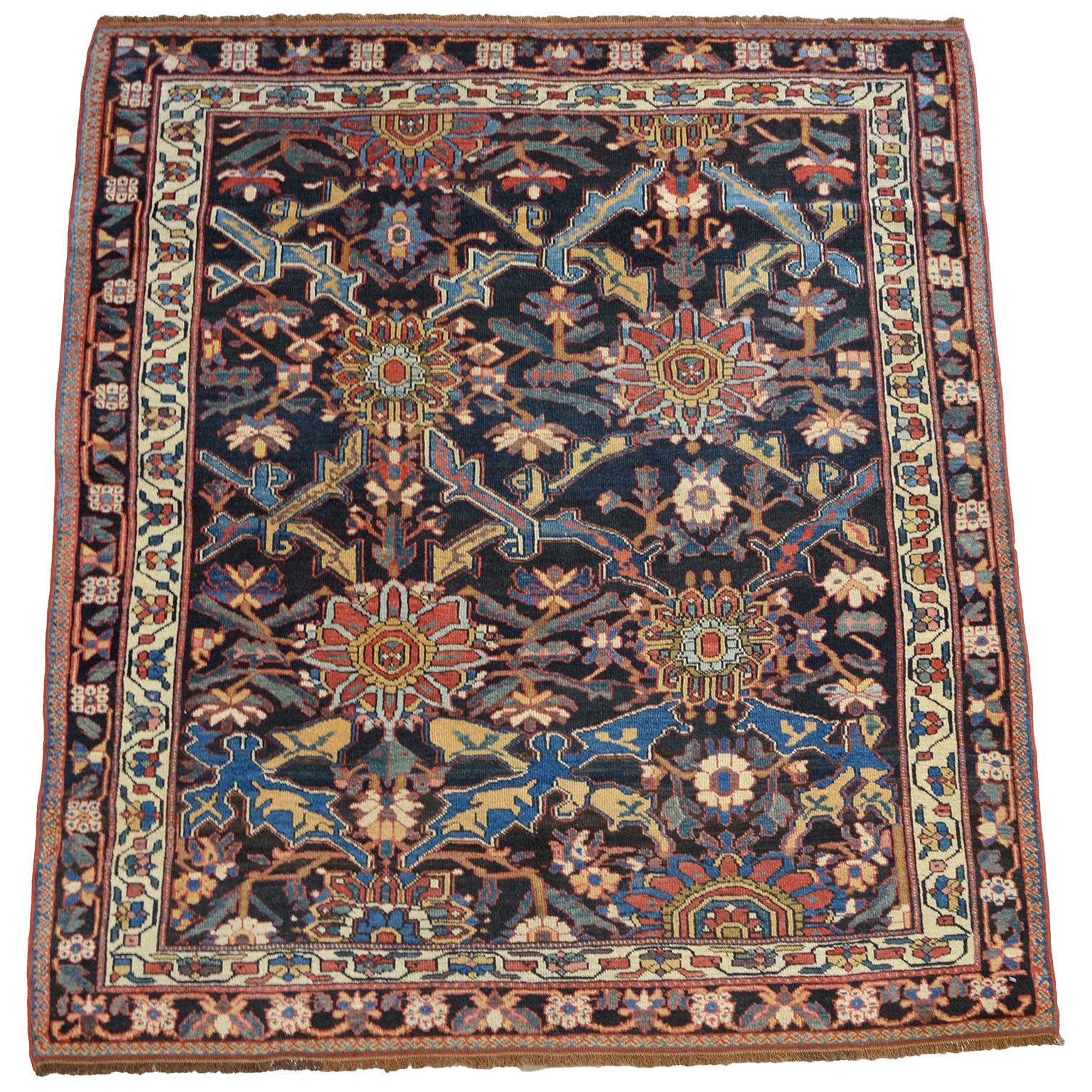 Antique Persian Bakhtiari Carpet in Pure Handspun Wool, circa 1880