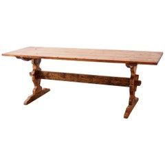 Rustic Italian Baroque Style Pine Trestle Farm Table