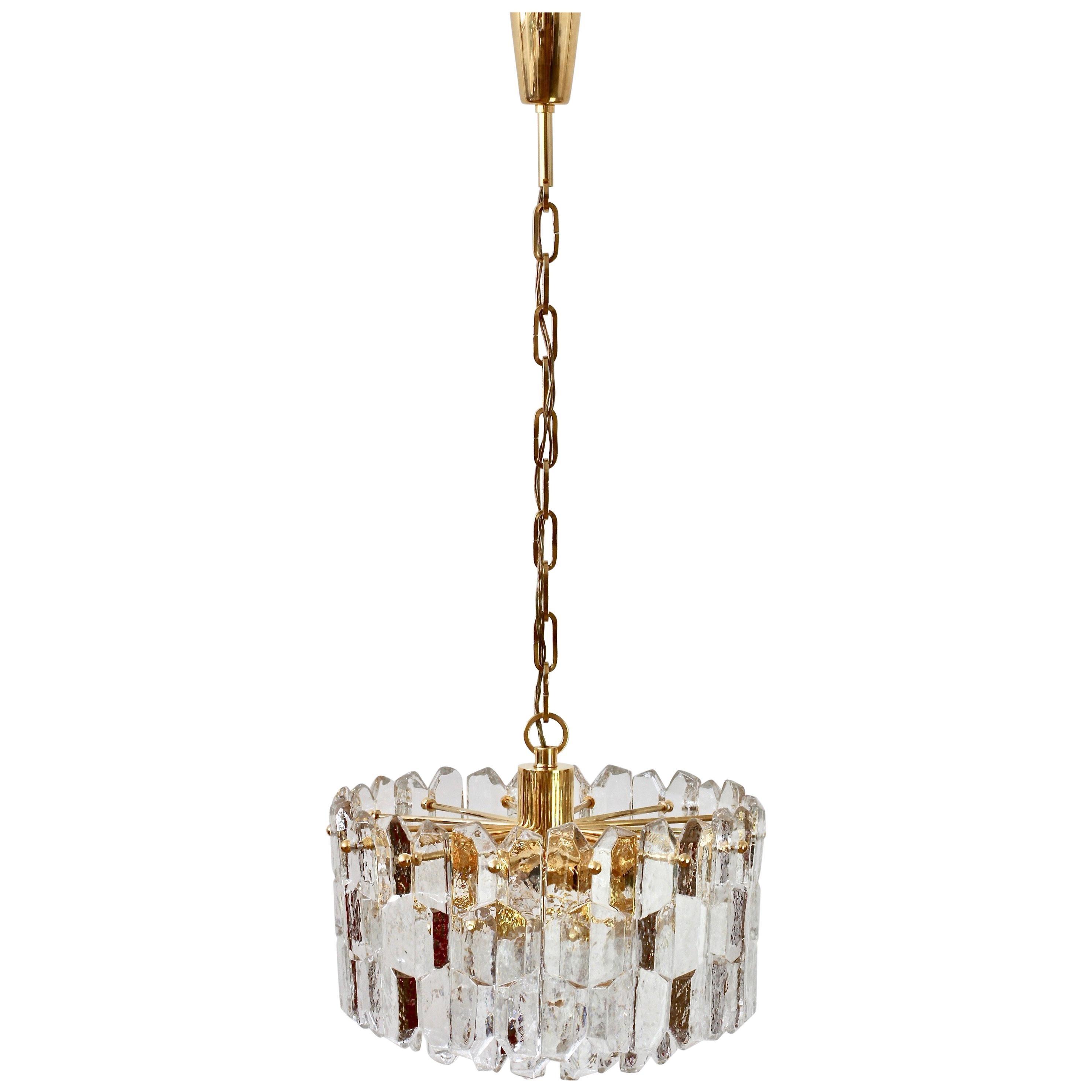 """Kalmar Large """"Palazzo"""" Ice Crystal Glass & Gilt Brass Chandelier Austria, 1970s"""