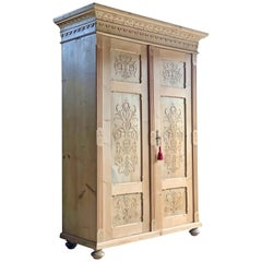 Antique Pine Wardrobe Armoire 19th Century Dutch circa 1870 Number 1
